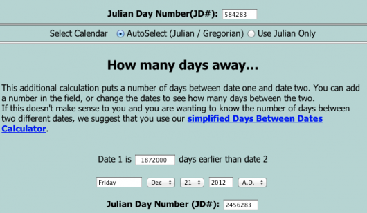 Screenshot from Julian Date calculator