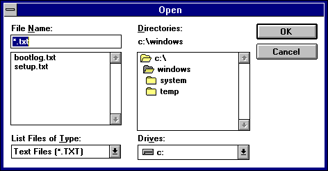 Open File in Windows 3.1